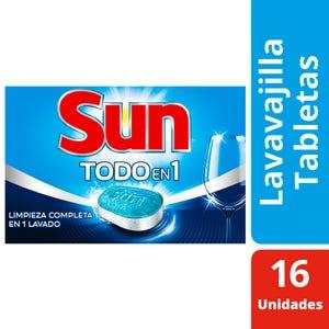 Tabletas Lavavajillas Sun 3 en 1 Caja 16 un