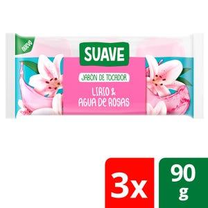 Jabón en Barra Suave Lirio y Agua de Rosas multipack 3x90 gr