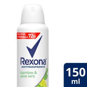 Desodorante Antitranspirante Rexona Bamboo y Aloe Vera en aerosol 150 ml