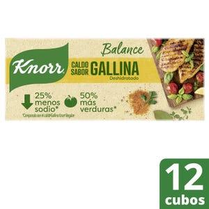 Caldo en Cubos Knorr de Gallina menos Sodio 12 un