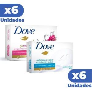 Combo Jabon Dove Exfoliante x6 + Jabon Dove Revigorizante x6