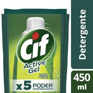Detergente Cif Concentrado Active Gel Limón Verde Repuesto 450 ml