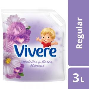 Suavizante Regular Vivere Violetas y Flores Blancas Doypack 3 lt