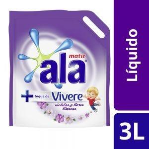 Jabón Líquido Ala Matic con Toque de Vivere Violetas y Flores Blancas Doypack 3 lt